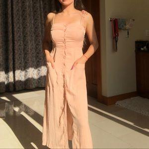 Midi Silky Button-Up Dress